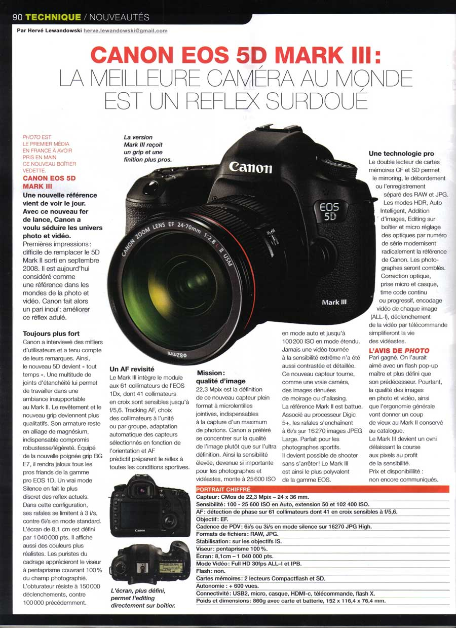 Article Canon 5D Mark III