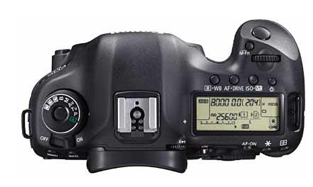 Canon 5D Mark III, vue de dessus
